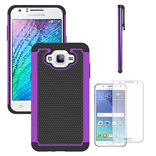 Galaxy J7 Neo J701M/J7 Nxt J701F/J7 Core J701 Case, With Screen Protector, Telegaming Dual Layer Armor Case Drop Protection TPU & Hard PC Back Cover For Samsung Galaxy J7 Neo/J7 Core Duos Purple