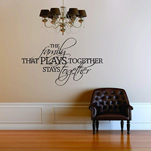 Top Selling Decals - Prices Reduced : The Family That Plays Together Stays Together Quote Postive Home Life Art Lettering - Peel & Stick Sticker - Vinyl Wall Word Art Decor 22 Colors Available 15x30 (The Family That Plays Together Stays Together Quote)