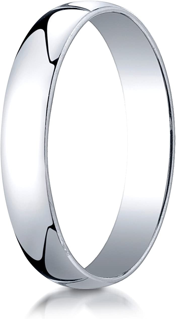 Benchmark 14K White Gold 4mm Low Dome Light Wedding Band Ring (Sizes 4 - 15 )