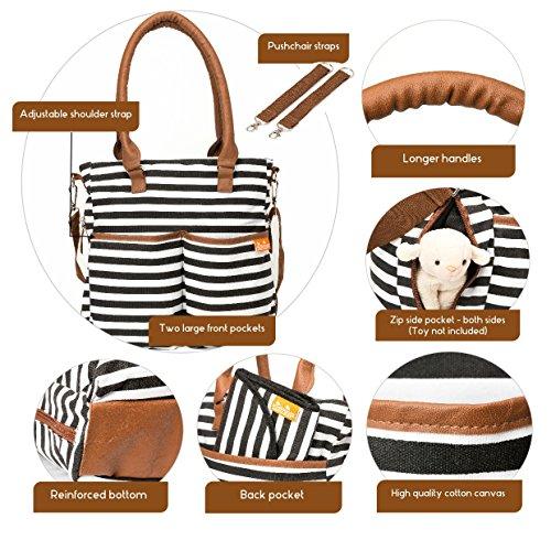 Windeltasche elegante und funktionale Wechseltasche Designer, inklusive Wickelauflage, isolierte Babyflaschentasche - perfektes Geschenk - Bonus Ebook