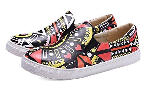 Aisun Donna Casual Comoda Stampa Punta Rotonda Slip On Mocassini Scarpe Sneakers Rosa