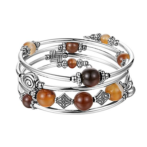 - Beaded Pearl Bangle Wrap Bracelet - Fashion Bohemian Jewelry Multilayer Charm Bracelet with Thick Silver Metal Beads, Gift for Women and Girls (Brown)