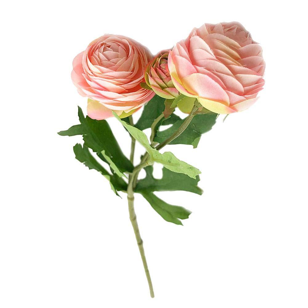 Mikolot 造花バラ シルク人工バラ 3輪 ブライダル ウェディングブーケ ホームガーデンパーティー ウェディングデコレーション 40cm ピンク B07NPHKDPL ピンク