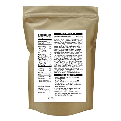 Worldwide Botanicals Date Sugar, 100% Pure, Natural Whole Food Sweetener, Certified Gluten-Free
