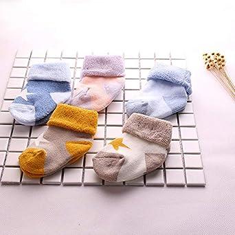 Quelife 5 Pairs Pentagram Print Cute Baby Kids Toddler Casual Cartoon Warm Socks