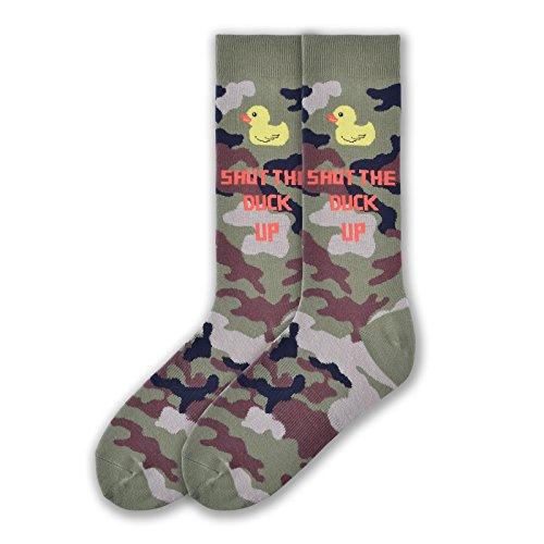 K. Bell Socks Men's Play on Words Novelty Crew Socks, Shut The Duck Up (Green Camo), Shoe Size: 6-12 (Camo Quarter Socks)