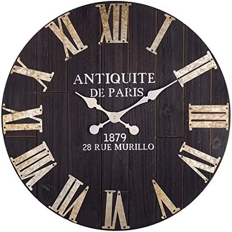 Large Wall Clock, 24-Inch Vintage Paris Decorative Black Farmhouse Clock w Metal Roman Numerals, Silent Non-Ticking Solid Wooden Clock, Great for Living Room, Dining Room, Bedroom, Kitchen,
