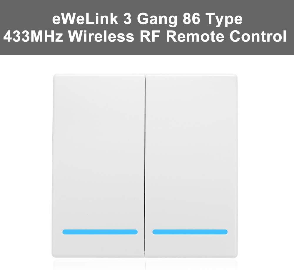 eWeLink 433MHz Botón Pulsador de Pared, Interruptor de Control Remoto,Tipo 86, 2 Gang, Interruptor de Encendido/Apagado, Transmisor de Control Remoto Inalámbrico RF, con Pegatina Posición Flexible: Amazon.es: Bricolaje y herramientas