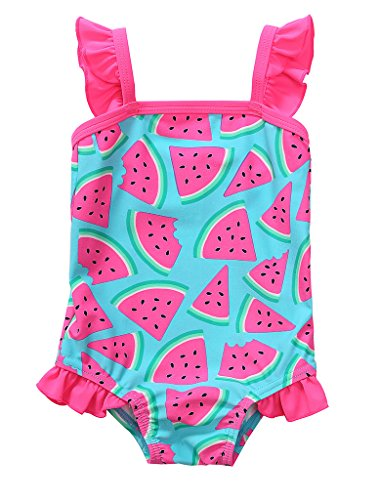 BeautyIn Baby Girls Cute Fruits Ruffle One Piece Swimming Costume Swimwear, Blue, 0-6 Months