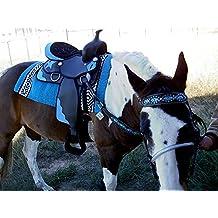 "15"" Western Cordura Trail Barrel Pleasure Horse SADDLE Bridle Tack Blue 4917"