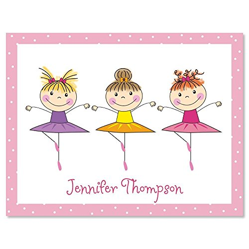 Tiny Dancer Kids Personalized Note Card Set - 24 cards with (Ballerina Personalized Note)