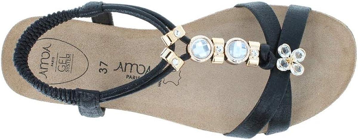 AMOA Malo Sandales Extra Fine - Cuir Noir