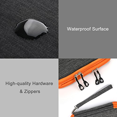 Electronics Organizer, Jelly Comb Electronic Accessories Cable Organizer Bag Waterproof Travel Cable Storage Bag for Charging Cable, Cellphone, Mini Tablet (Up to 7.9'') and More (Orange and Gray) Photo #6