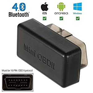 New ELM327 Bluetooth Wireless OBD6/OBDII Scan tool Auto Car Diagnostic Interface Scanner for Android Windows (Black) by E_Market(TM)