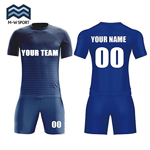 Custom Sport Jerseys Dunk Blue Soccer Uniform Team Name and Team Number Wholesale Custom (XXL)