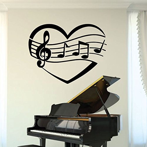 (Music Room Decor - Wall Decal with Heart Design - Vinyl Sticker for Musician Gifts, Bedroom, Playroom or Studio Decoration)