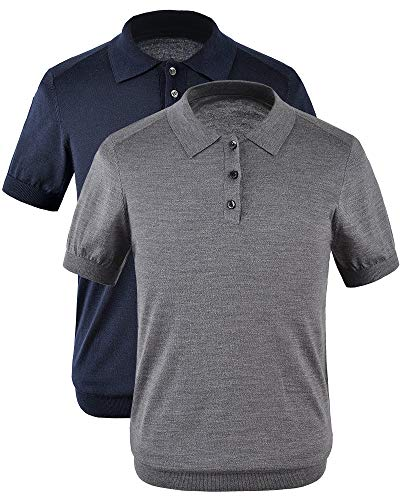 (zhili New Spring and Summer Polos Pure Color Men's Sweater Polos Shirt_Gray_M)