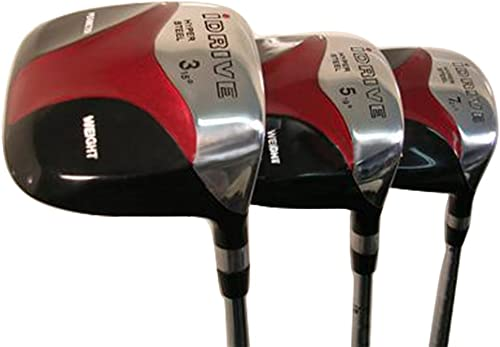 Senior Men s iDrive Red Square Anti-Slice Draw Fairway 3 5 7 Wood Set Golf Clubs, Right Handed Senior Flex with Premium Men s Arthritic Grip