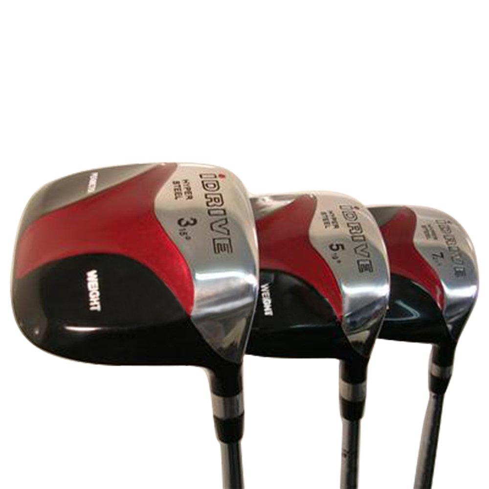 SeniorメンズiDriveレッド正方形anti-slice Drawフェアウェイウッド3 5 7ウッドセット、ゴルフクラブ右利きSenior Flex with tacki-macジャンボ関節炎グリップ B0799DPW1H