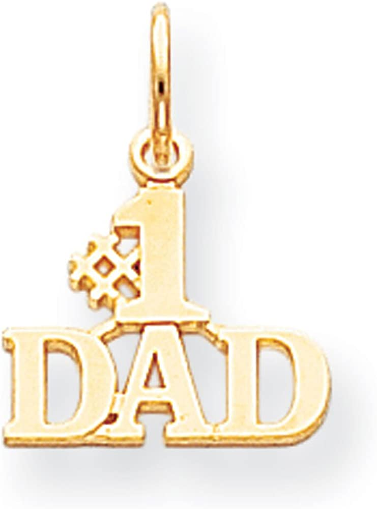 10k Gold Number 1 Dad Cut out Vertical Pendant Necklace Jewelry Gifts for Women