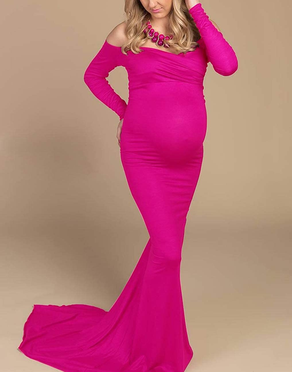 Saslax Womens Off Shoulders Sweetheart Neckline Long Sleeves Maternity Slim Fit Gown for Photography Dress