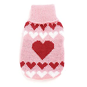 Water & Wood Ribbed Cuff Heart Pattern Pet Dog Cat Apparel Sweater XXS Pink Red by Como