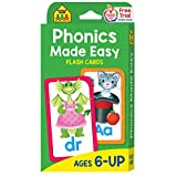 School Zone - Phonics Made Easy Flash Cards - Ages 6 and Up, Preschool to Second Grade, Short Vowels, Long Vowels, Word-Picture Recognition, and More