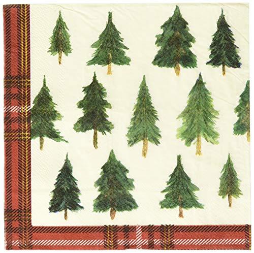 Christmas Tree Napkin - C.R. Gibson Christmas Pine Tree Dessert and Luncheon Napkins, 20pc, 6.5'' W x 6.5'' H