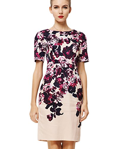 YACUN Women's Elegant Floral Printed Short Sleeve Office Dress US 10 (Yacun Women Dress)