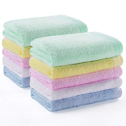 YOOFOSS Washcloths Bamboo Face Towel Hand Cloth Set 10-Pack for Bathroom-Hotel-Spa-Kitchen Multi-Purpose, Ultra Soft…