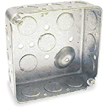 """Hubbell-Raco 190 Square Box, 1-1/2"""" Depth, 1/2"""" Knock-Out, 4"""" (Pack of 50)"""