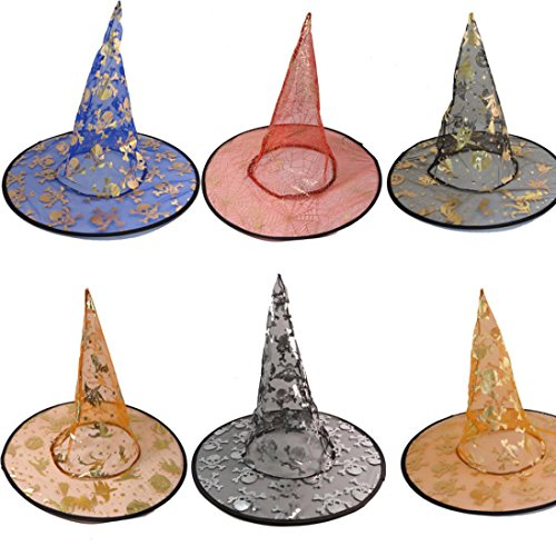 Franterd Witch Hat, Halloween Costume Accessory Stars Print Cap for Adult Womens Mens