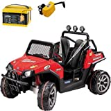 Peg-Perego-Polaris-Ranger-RZR-with-additional-Battery-and-Charger-Red