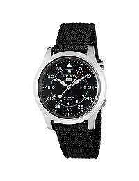 Seiko 5 Men's SNK809 Automatic Black Strap Black Dial Watch
