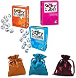 Rory's Story Cubes Dice Original, Actions, Fantasia Bundle w/Storage Carry Bags
