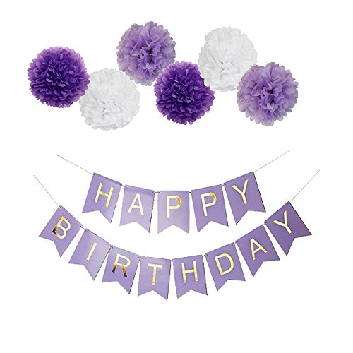 Purple Happy Birthday Bunting Banner,10 Tissue Paper Pom Poms Flowers,Perfect Party Decoration Supplies for Birthday