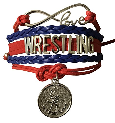 Wrestling Charm Infinity Bracelet- Wrestling Jewelry for Wrestlers,Teams, Moms and Coaches ()