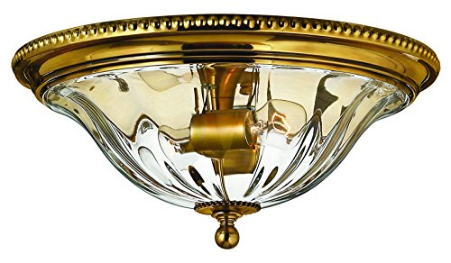 Hinkley Brass Light Fixture (Hinkley 3616BB Traditional Two Light Flush Mount from Cambridge collection in Brassfinish,)