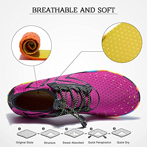 d0c42a948c0dbe FEIFAN Women Men Unisex Lightweight Water Shoes Quick-Dry Barefoot Flexible  Beach Swim Shoes