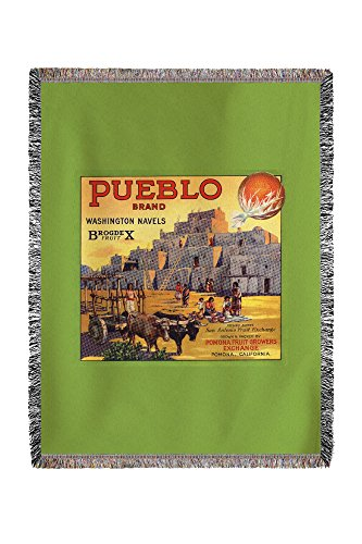 (Lantern Press Pueblo Brand - Upland, California - Citrus Crate Label 57654 (60x80 Woven Chenille Yarn Blanket))