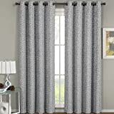 eLuxurySupply Fiorela Jacquard Grommet Top Curtain Panel Window Treatment – Set of Two (2) – Multiple Sizes & Colors Available For Sale
