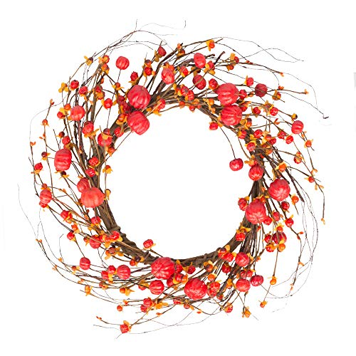 VGIA 18 Inch Red Berry Wreath  Fall Wreath  Front Door Decor Wreath  Fall Decorations