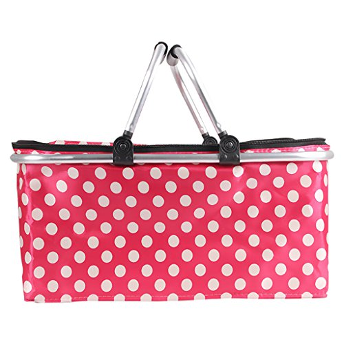 Picnic Bag Five People Picnic Basket Insulation Outdoor Cutlery Package Barbecue Bag Incubator Portable Easy Light and Durable (Color : Pink)
