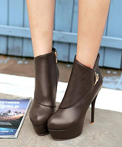 Winter Pointed Boots Ankle Warm Lined Waterproof Womens Fully Heel Zipper Brown Sexy Stiletto Fur Toe CHFSO High Platform FB0q6wn