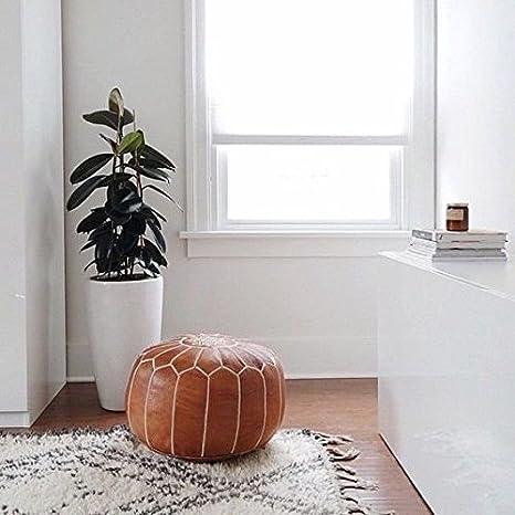 set di 2/Amazing marocchina pouf Light tan color migliore offerta marocchino House pronto magia il vostro soggiorno poggiapiedi pouf 100/% realizzato a mano in pelle Poof | consegnato Unstuffed Light Tan ottomani Poffes