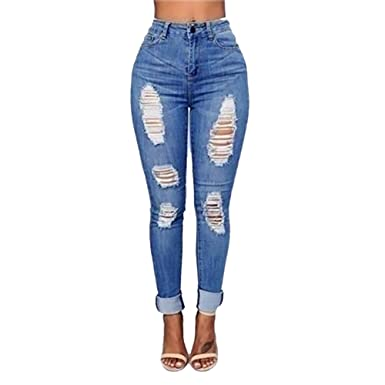 VICVIK Women Knee Skinny Denim Distressed Fashion Ripped Boyfriend ...