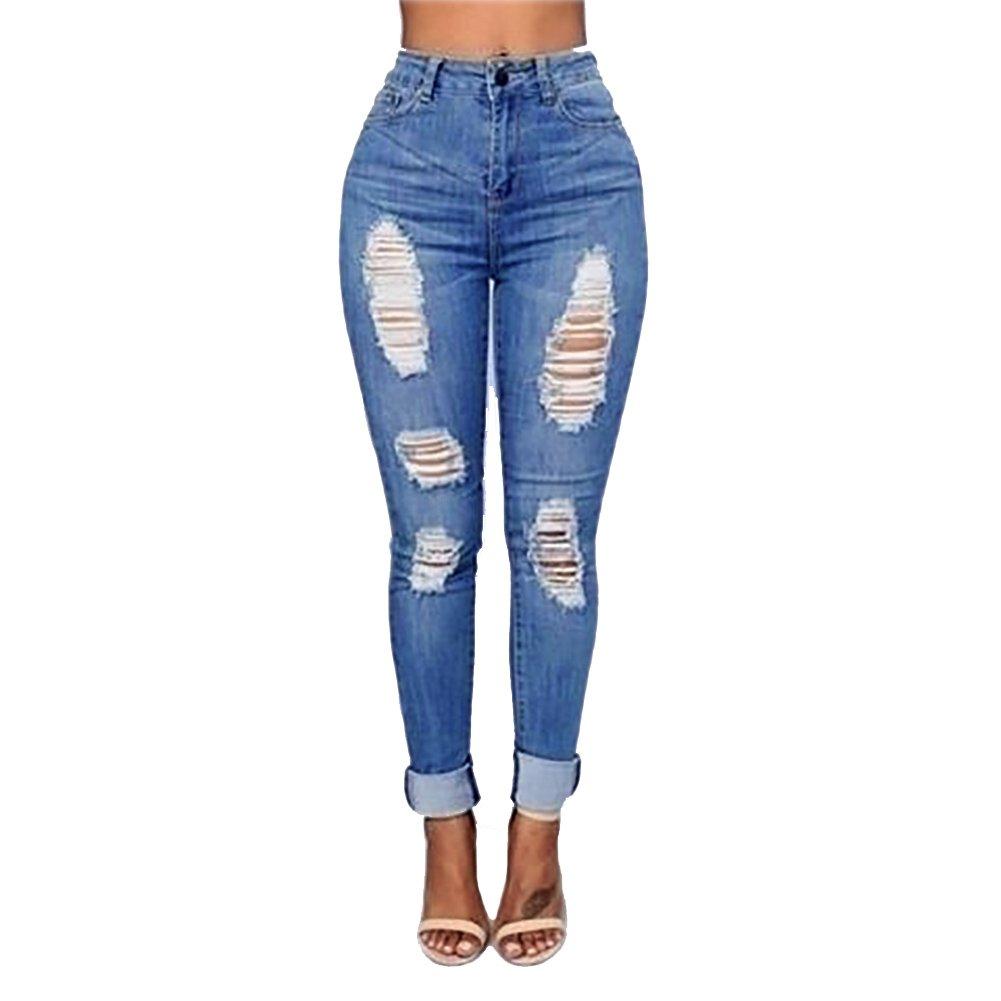 VICVIK Women Knee Skinny Denim Distressed Fashion Ripped Boyfriend Jeans (M)