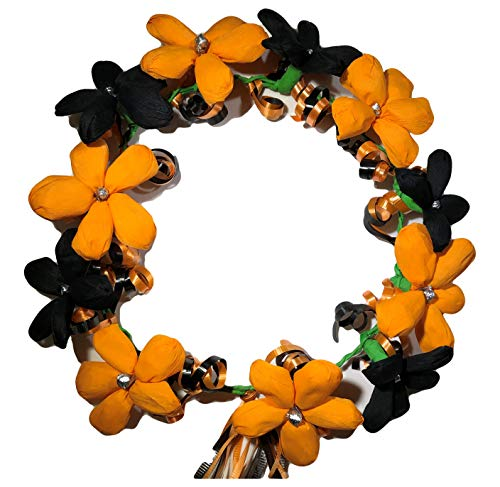 Flower Crown Crepe Paper Headband With Ribbon Ponytail ideal for Festival, Wedding, Party, Costumes (Black-Orange)