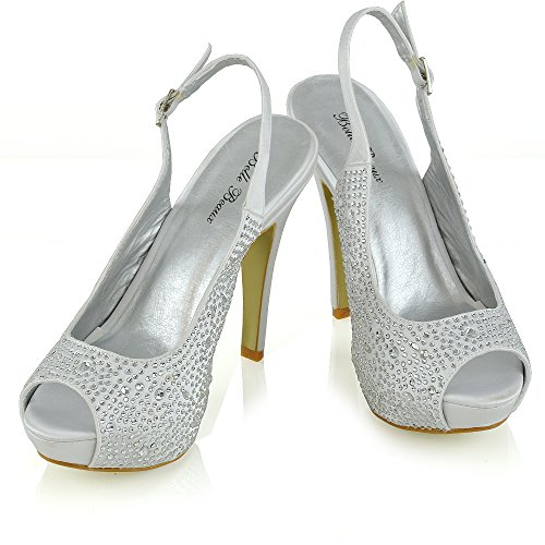 Matrimonio Dressy Bianco 3 Diamante Donna Heels Ladies Satin Taglia Prom Peep Essex 8 Sandali Toe Bridal Glam XqZzx4H