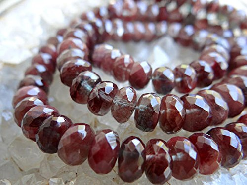 Rare Chatoyant Green & Red Labradorite Andesine | Large Faceted Rondelles | 6-9mm | Sold in Sets of 6 Beads (Andesine Labradorite Red)